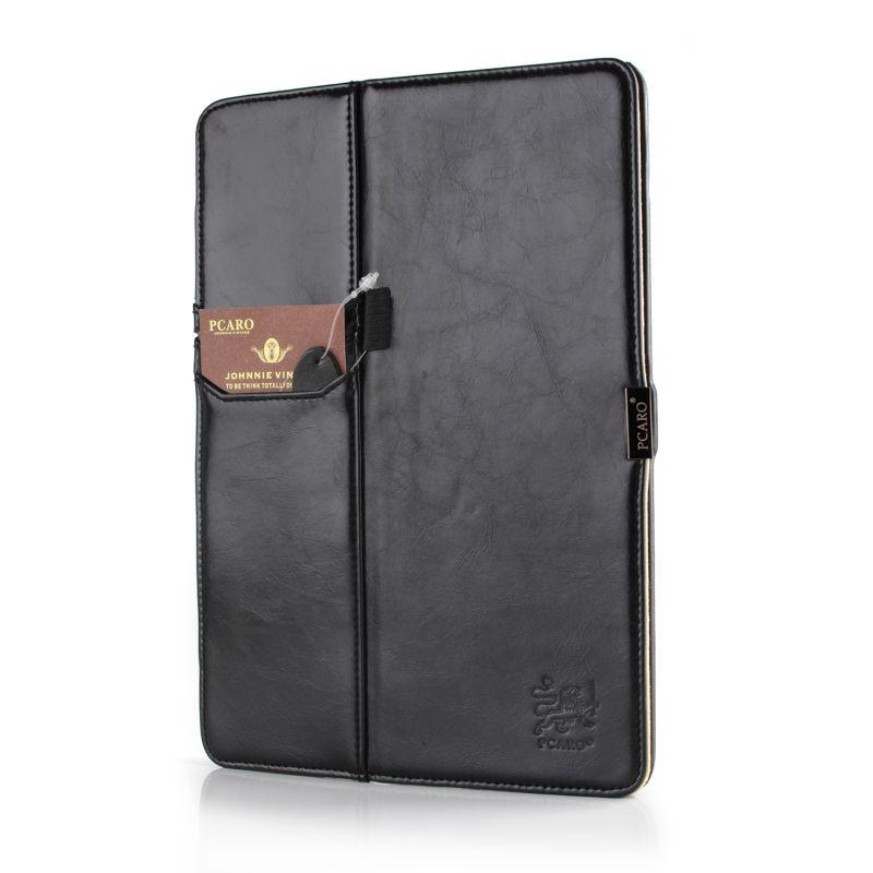 PCARO® Apple iPad Air 2 Tablet Hülle Lederhülle Rome schwarz front mit Label