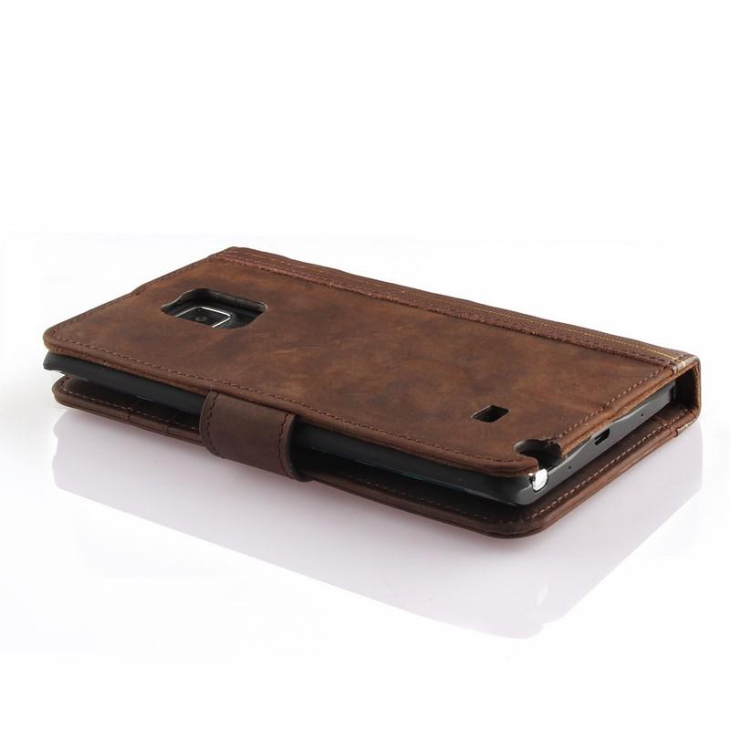 PCARO® Samsung Galaxy Note Edge Lederhülle BookCase braun back liegend