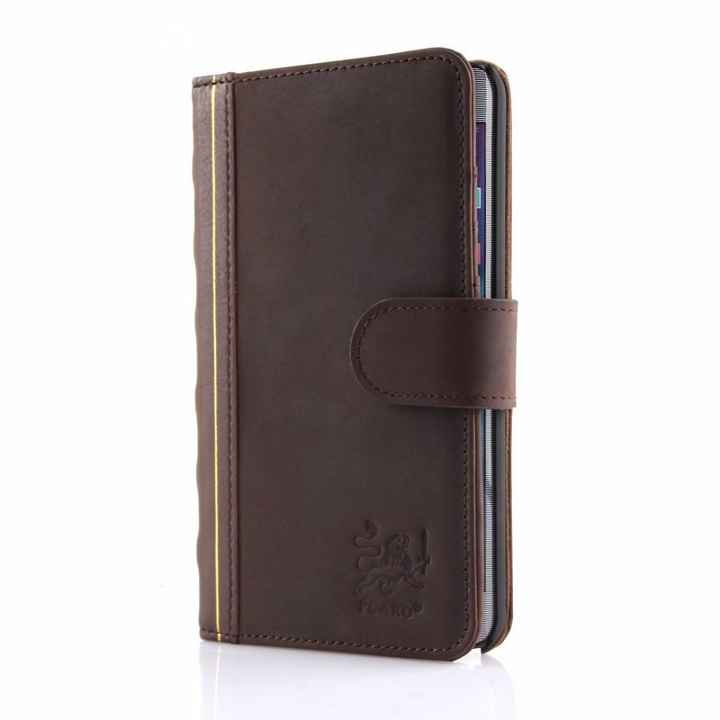 PCARO® Samsung Galaxy Note Edge Lederhülle BookCase braun front