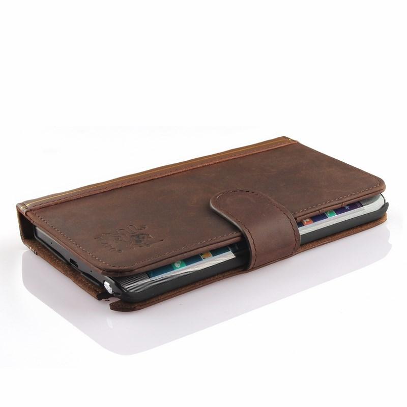 PCARO® Samsung Galaxy Note Edge Lederhülle BookCase braun front liegend