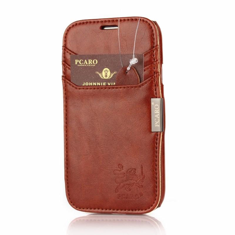 PCARO® Samsung Galaxy S3 Echlederhülle Rome braun front mit Label