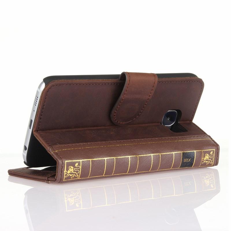PCARO® Samsung Galaxy S6 Lederhülle BookCase braun Aufstellfunktion back
