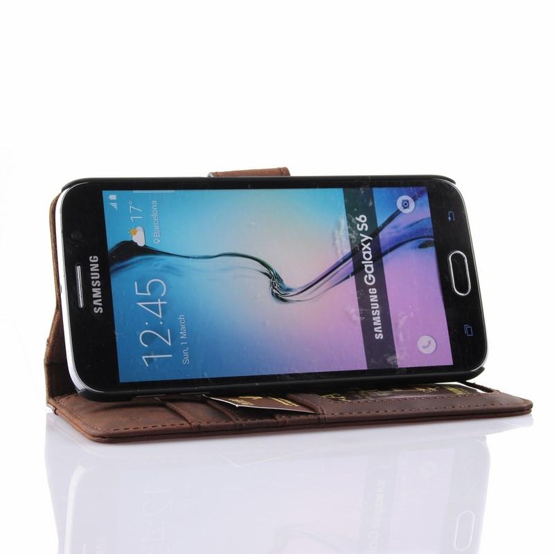 PCARO® Samsung Galaxy S6 Lederhülle BookCase braun Aufstellfunktion front