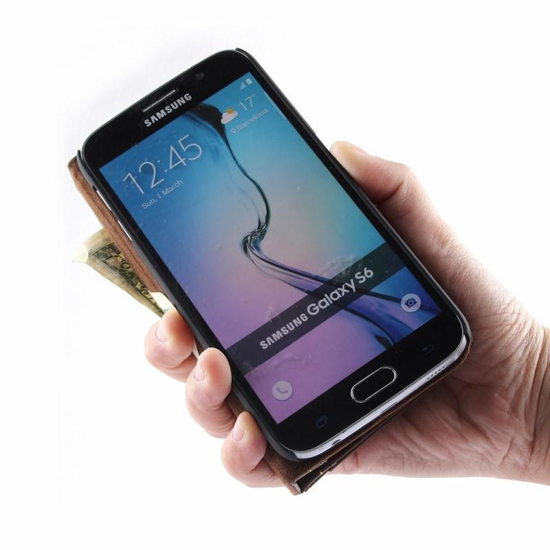 PCARO® Samsung Galaxy S6 Lederhülle BookCase braun aufgeklappt