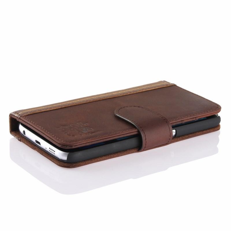 PCARO® Samsung Galaxy S6 Lederhülle BookCase braun front liegend