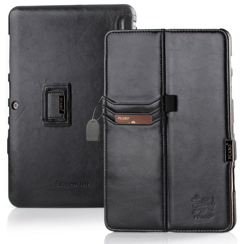 PCARO® Samsung P5100 Galaxy Tab 2 Tablet Lederhülle schwarz front und back